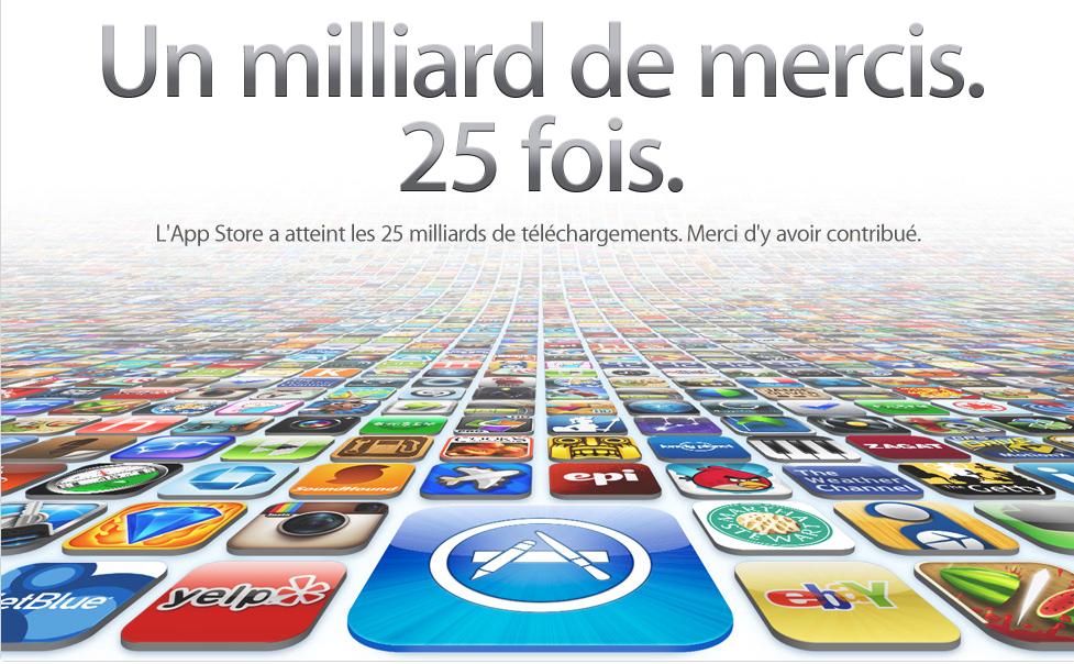 Capture - 25 milliards d'applications téléchargées : c'est fait !