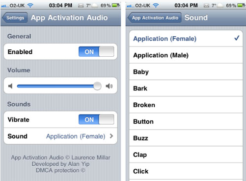 Capture2 - Tweak Cydia : Son et vibration au lancement des applications