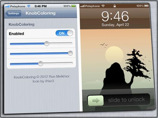 KnobColoring Tweak - KnobColoring : Personnaliser la couleur du slide [Tweak Cydia]