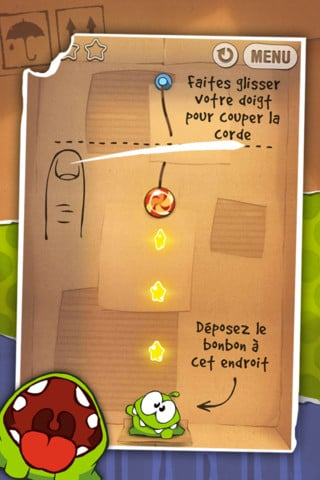 cuttherope 2 - L'application du samedi 28 avril 2012 est Cut The Rope