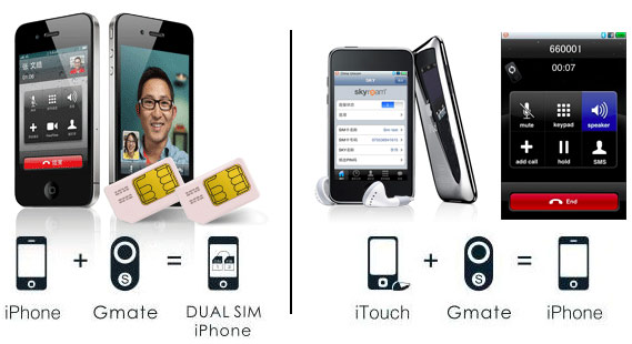 gmate - Gmate transforme l'iPod Touch en iPhone, et l'iPhone en Dual SIM