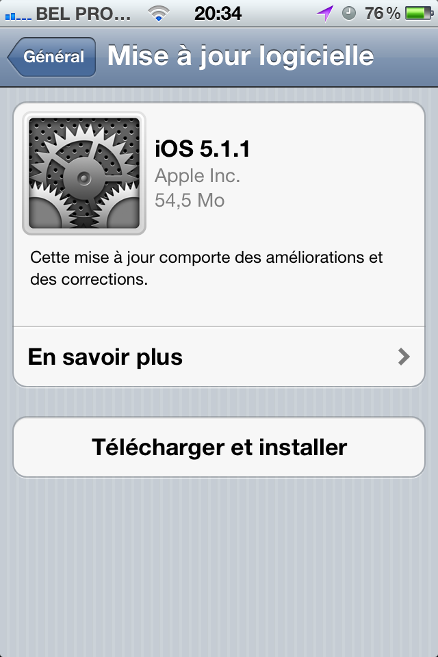 Mise à jour de l'iOS 5.1 vers 5.1.1 !