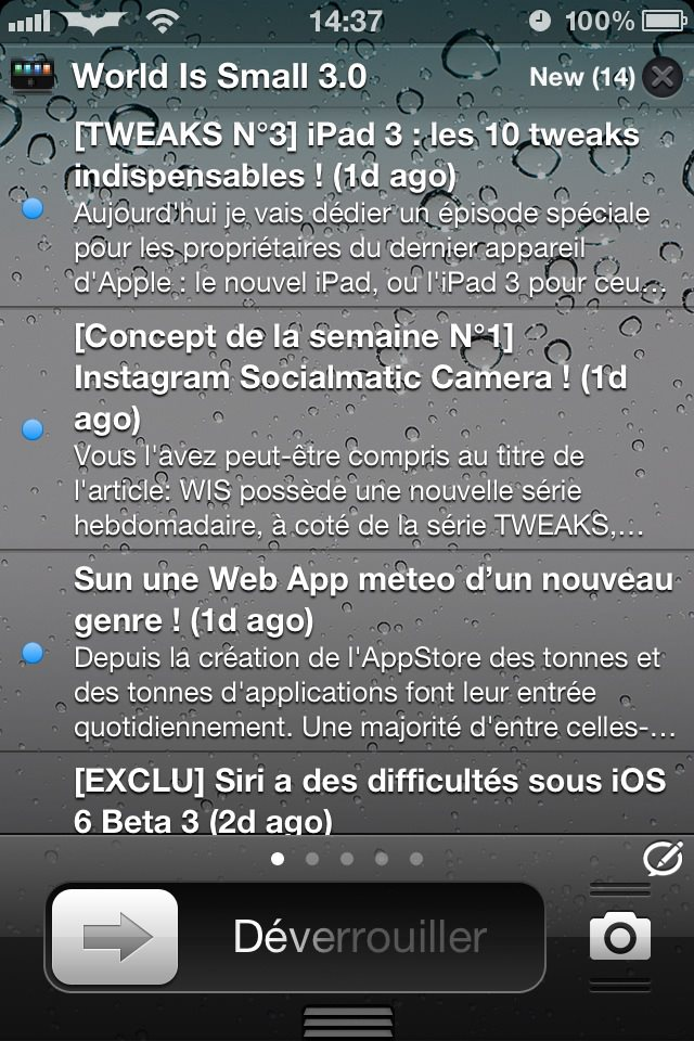 3 - Cydia : Tweak IntelliScreenX