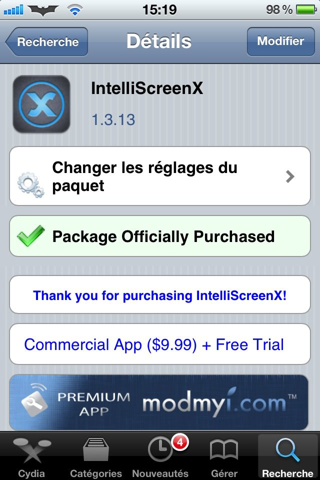 5 - Cydia : Tweak IntelliScreenX