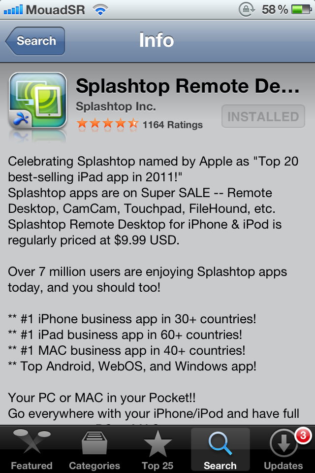 photo 1 - Splashtop Remote Desktop : contrôler son PC/MAC depuis son iDevice.