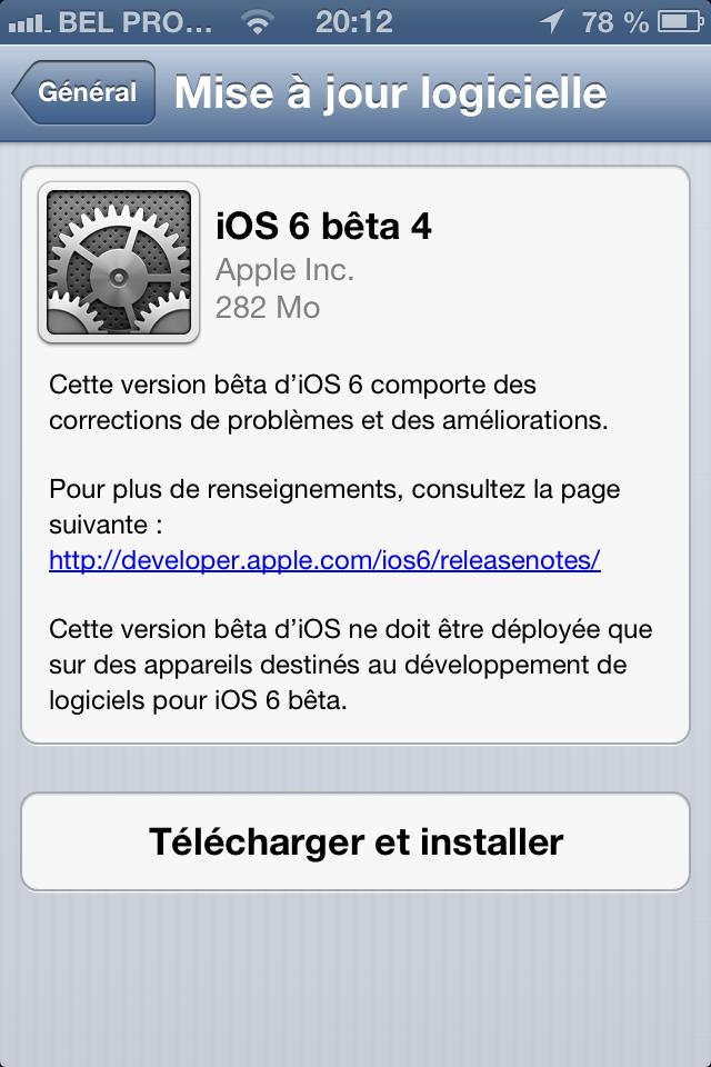 IMG 1179 - iOS 6 Beta 4 disponible pour les développeurs !