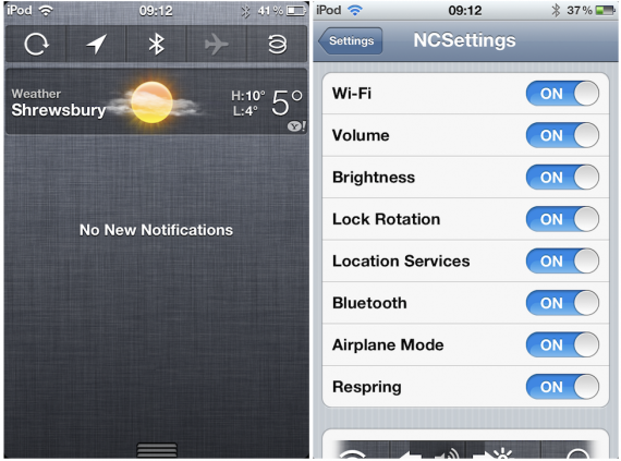 NCSettings : vos raccourcis dans le centre de notifications