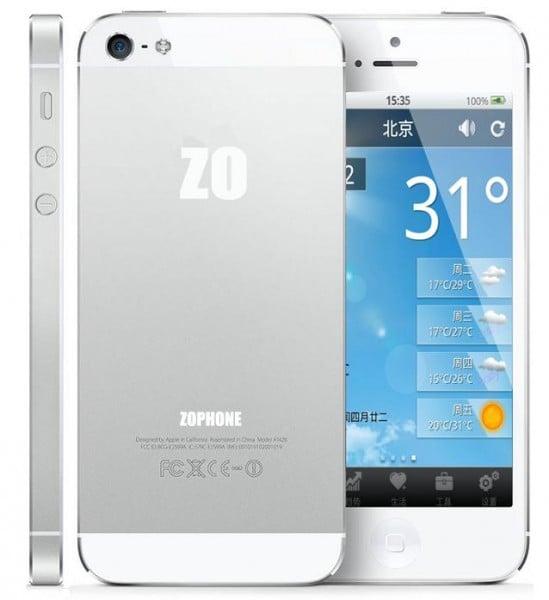 ZoPhone I5 - Zophone i5 : un clone de l'iPhone 5 à 125€ !