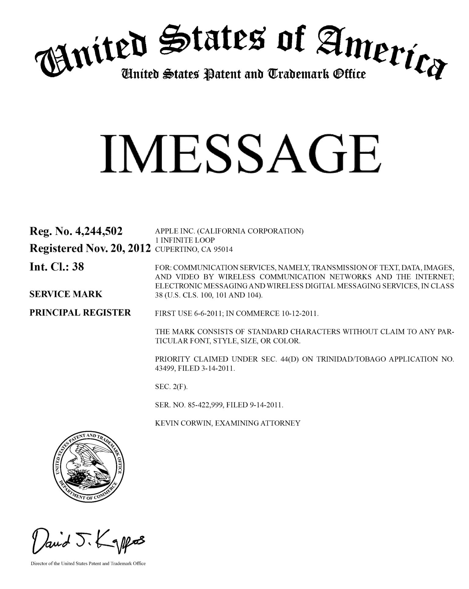 iMessage désormais une marque déposée