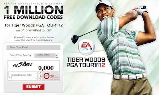 tiger woods pga ea - EA offre 1 million de codes pour Tiger Woods PGA TOUR 12