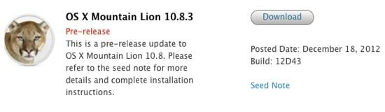 OS X 10.8.3 beta 3 - OS X Mountain Lion 10.8.3 : la bêta 3 disponible