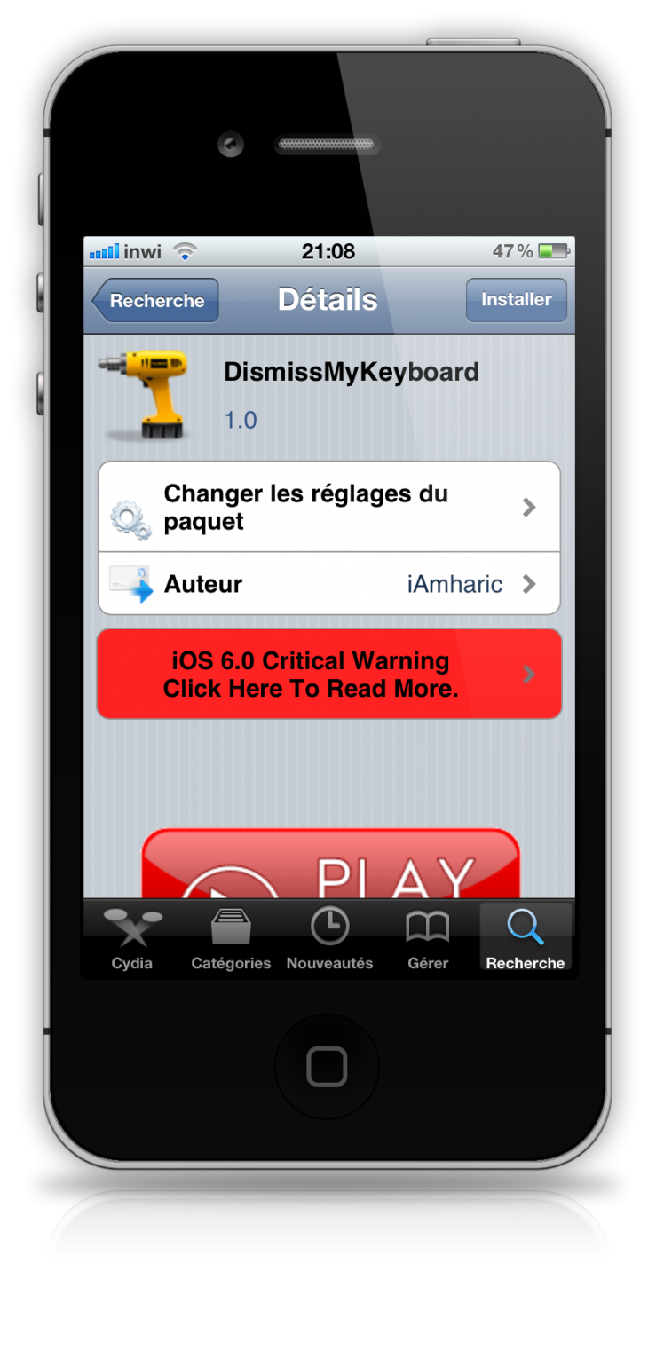 DismissMyKeyboard : Cacher le clavier de son iPhone, iPad et iPod Touch