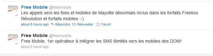 Free Mobile : SMS illimités vers les mobiles des DOM