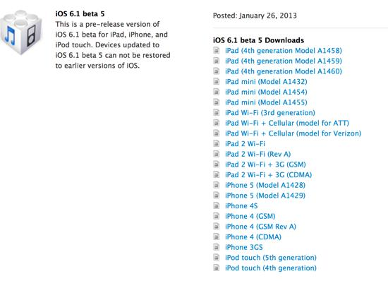 iOS 6.1 bêta 5 disponible : la Gold Master (GM) ?