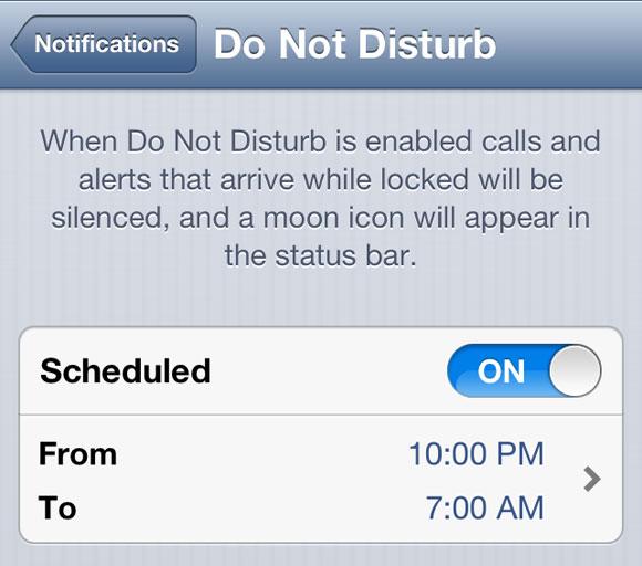 """ne pas deranger - iOS 6 : un bug avec """"Ne pas déranger"""" jusqu'au 7 janvier"""
