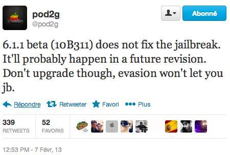Jailbreak : iOS 6.1.1 bêta 1 ne corrige pas la faille d'evasi0n