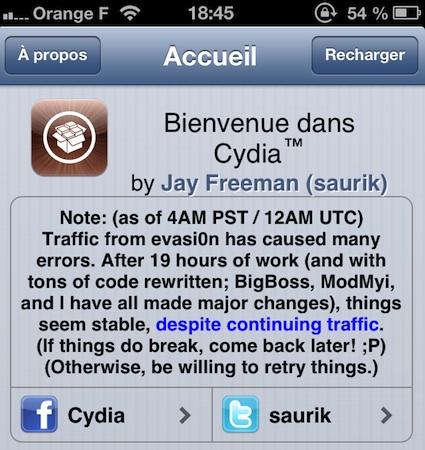 Cydia Evasi0n errors - Evasi0n : 1,7 millions de téléchargements en 1 jour