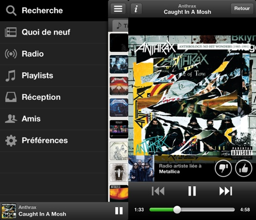 Spotify 0.6.0 : nouvelle interface iOS