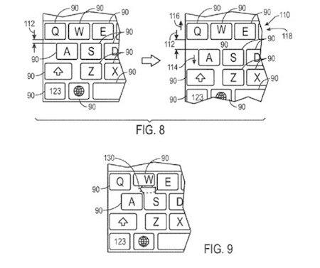 brevet clavier apple - Brevet Apple : un clavier iOS adaptable
