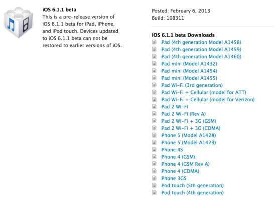 iOS 6.1.1 beta 1 - iOS 6.1.1 : bêta 1 déjà disponible