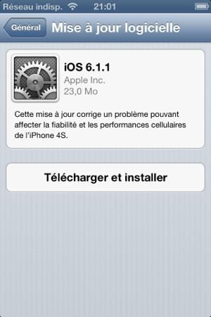 iOS 6.1.1 : disponible pour iPhone 4S
