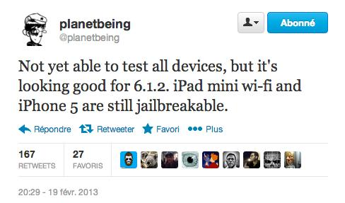 planetbeing jailbreak ios 6.1.2 - Jailbreak iOS 6.1.2 : déjà possible sur iPad Mini et iPhone 5