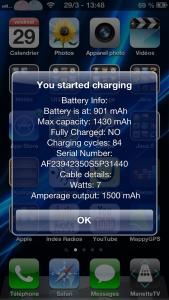 Charge depuis le chargeur d'origine Apple soit 1500mAh