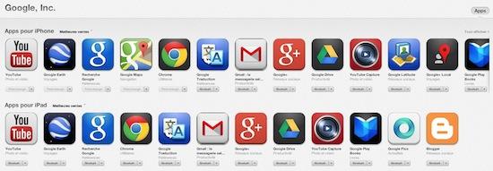 App Store : les applications Google en top des téléchargements