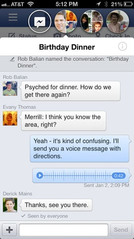 Facebook 6.0 : Chat Heads et nouvelles interface iPad