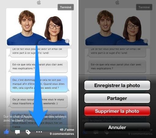 Facebook iOS 6.1.1 : nouveau bouton d'options pour les photos