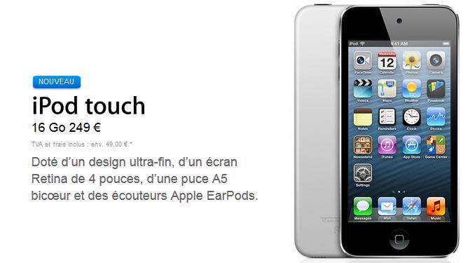 iPod Touch 5G : nouveau modèle 16 Go à 249 €