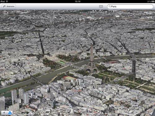 Plans iOS 6 : Paris désormais en 3D avec FlyOver
