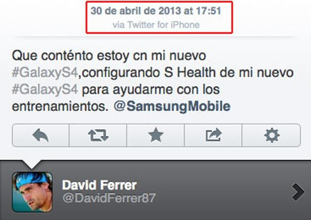 Insolite : Quand David Ferrer tweet pour Samsung depuis l'iPhone