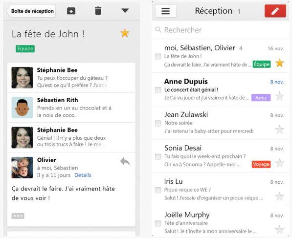 Gmail iOS : nouvelle interface avec catégories