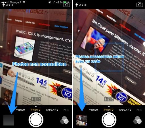 Faille iOS 7 : accéder aux photos lorsque l'iPhone est verrouillé