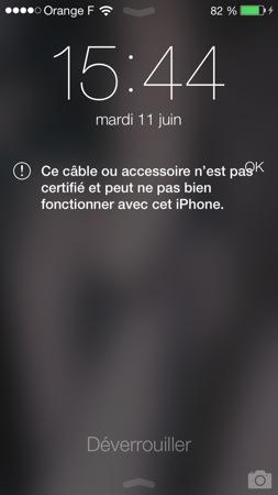 iOS 7 : blocage des câbles lightning non certifiés Apple