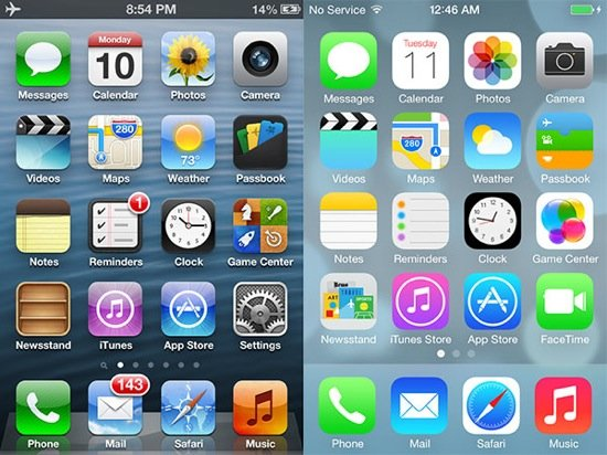 iOS 7 vs iOS 6 : le comparatif visuel