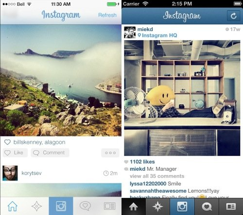 iOS 7 : quels designs pour Instagram, Twitter, Skype ou WhatsApp ?