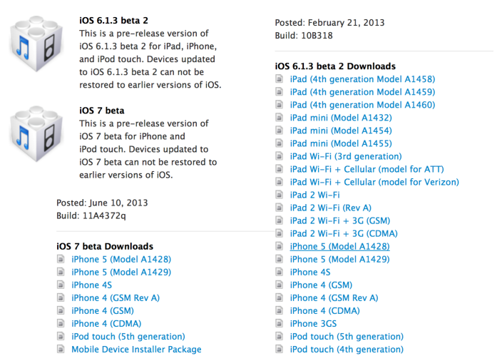 ios 7 beta  free for ipod 4