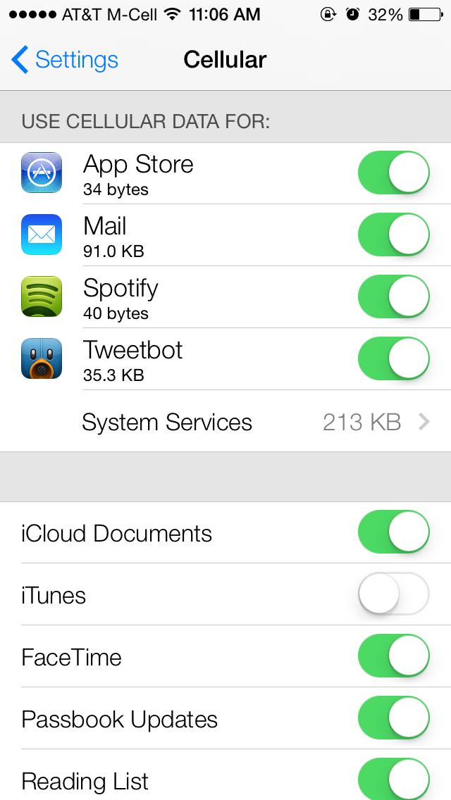 iOS 7 : suivre précisément sa consommation 3G