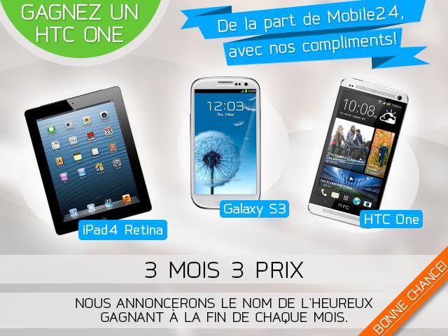 Concours : iPad 4, HTC One et Galaxy S3 à gagner avec Mobile24