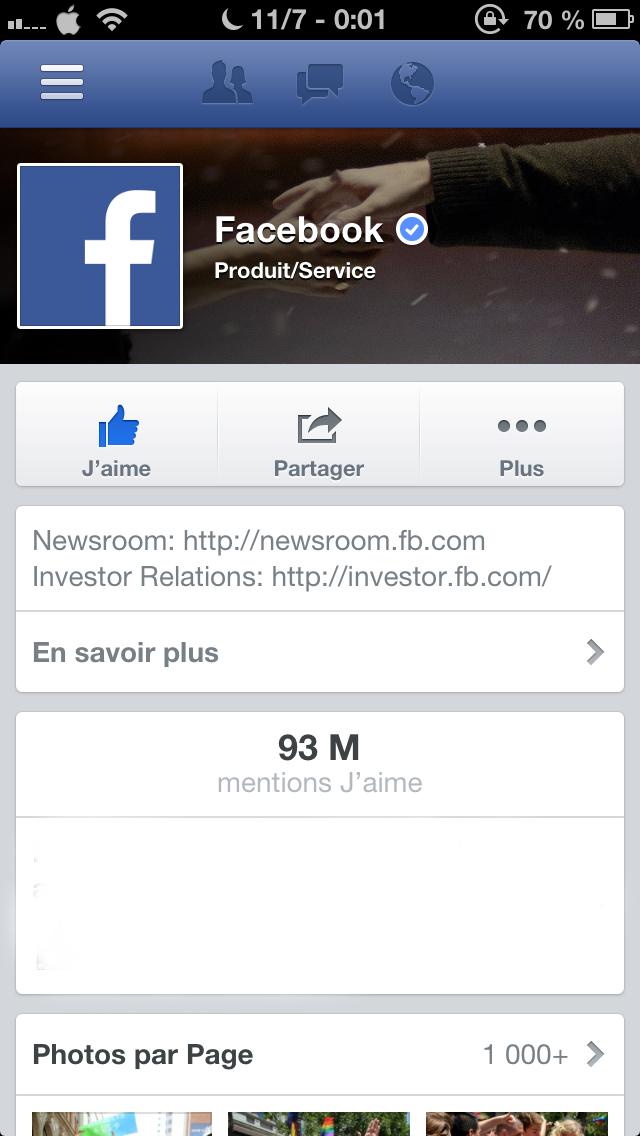 Facebook iOS 6.3 : ajout des pages vérifiées