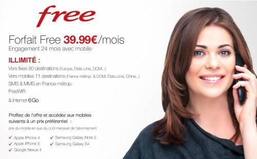 Free Mobile : forfait illimité avec téléphone à 39,99€