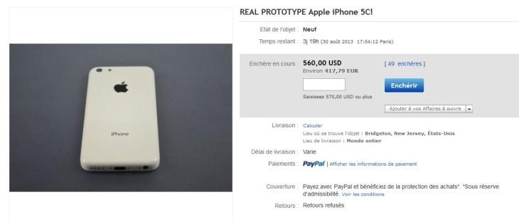 iPhone 5C : un prototype blanc en vente sur Ebay