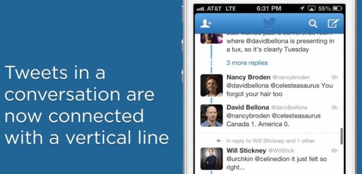 Twitter iOS 5.10 : nouveau look pour les conversations