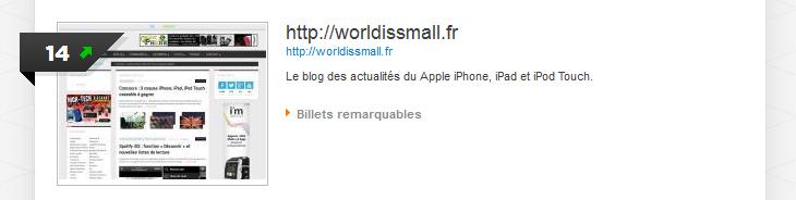 """Worldissmall : 14ème des blogs """"Technologie Nomade"""" français"""