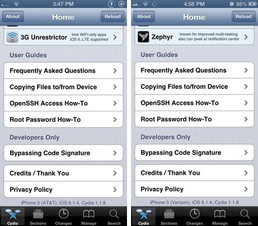 Jailbreak iOS 6.1.4 : réussi sur iPhone 5