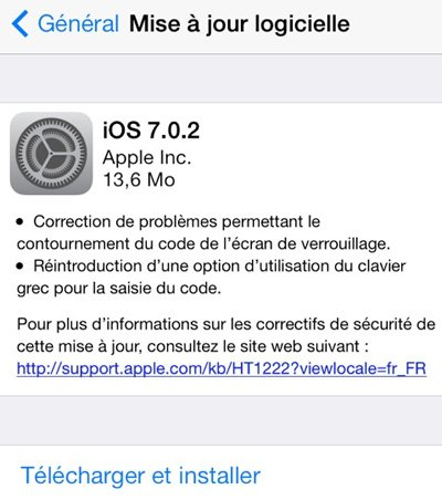 iOS 7.0.2 disponible sur iPhone, iPad, iPod Touch