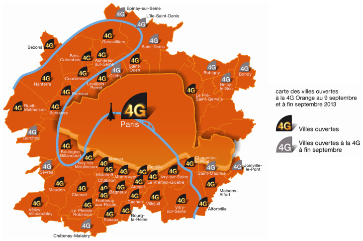 Orange : Paris couvert à 100% par la 4G