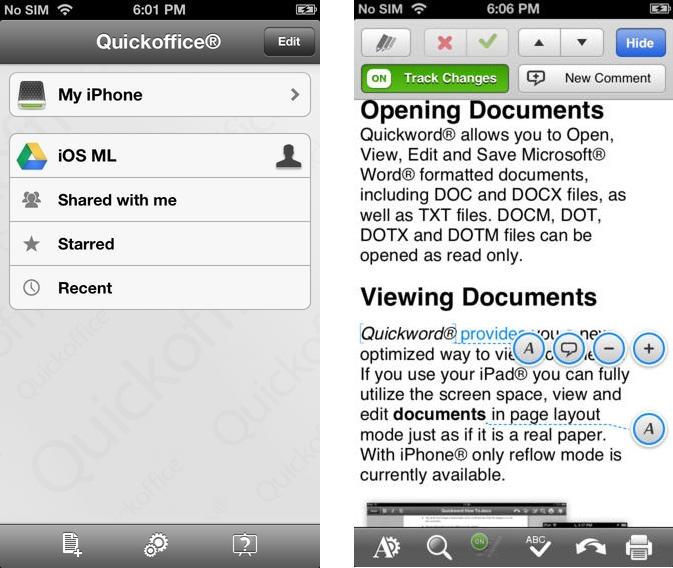 Quickoffice 6.1 : gratuit sur l'App Store et 10 Go offerts
